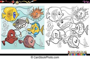 fish, coloritura, pagina, caratteri