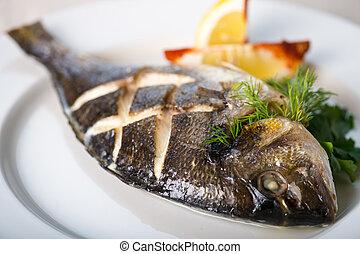 fish, con, limone