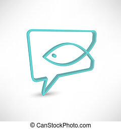 fish., conceito, cristão, símbolo, religião, fala, bolhas