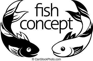 Fish Concept Icon - A fish icon concept symbol with two fish...