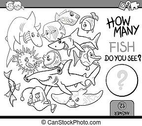 fish, conteggio, libro, coloritura
