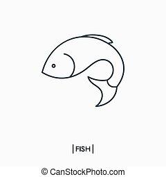 fish, contour, icône