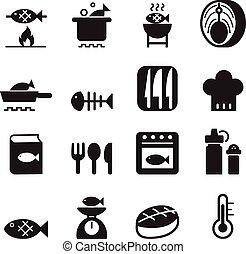 Fish cooking icon set