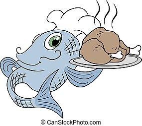 fish, cottura, pollo, chef