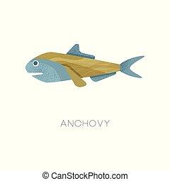 fish., creature., plat, anchovy., vie, illustration, océan, vecteur, texture, mer, petit, theme., marin, icône