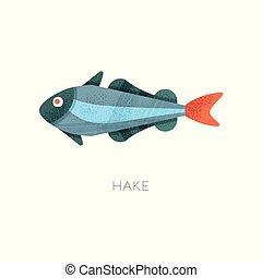 fish., creature., plat, theme., texture, océan, vecteur, hake, illustration, mer, marin, icône