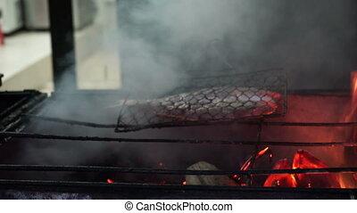 fish, cuisine, fire.