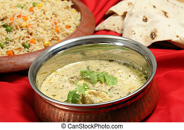 Fish curry with rice and chappatis