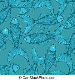 Fish cute seamless pattern