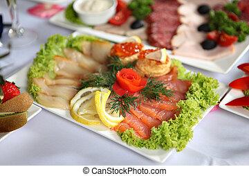 fish, delicatezze, su, tabella posta