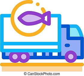 fish delivery icon vector outline illustration - fish ...