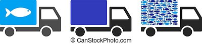 Fish Delivery Truck Vector Collage Illustration