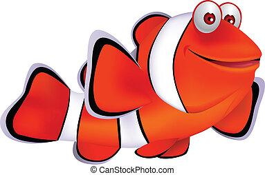 fish, dessin animé, clown