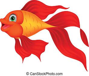 fish, dessin animé, doré, mignon