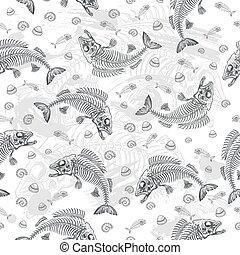 fish, dessin, os
