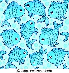 fish, dessins, seamless, fond, 3