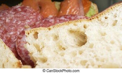 fish, detailed., extrême, sandwichs, gros plan, plat, saucisse