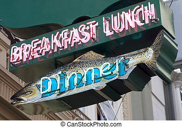 Fish Diner Sign - A beautiful breakfash, lunch, and dinner...