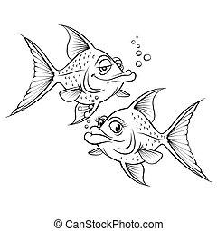 fish, disegno, cartone animato, due