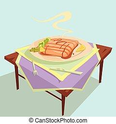 Fish Dish Cartoon Illustration
