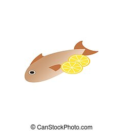Fish dish icon, isometric 3d style