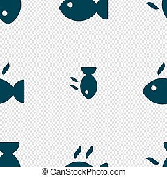 Fish dish Icon sign. Seamless pattern with geometric texture. Vector