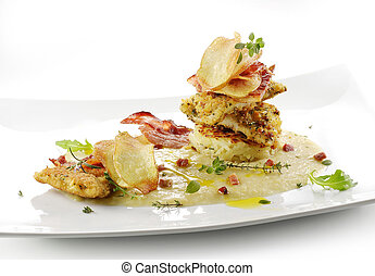 fish dish, turbot fillets flavored crust, cips, rosti, creamed potatoes, crispy bacon1