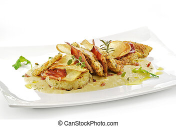 fish dish, turbot fillets flavored crust, cips, rosti, creamed potatoes, crispy bacon3