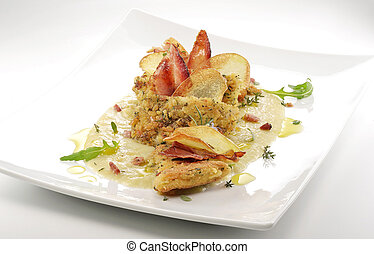 fish dish, turbot fillets flavored crust, cips, rosti, creamed potatoes, crispy bacon4