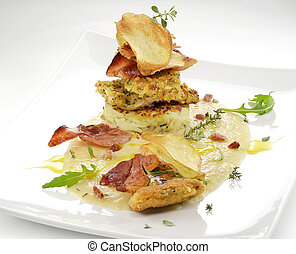 fish dish, turbot fillets flavored crust, cips, rosti, creamed potatoes, crispy bacon5