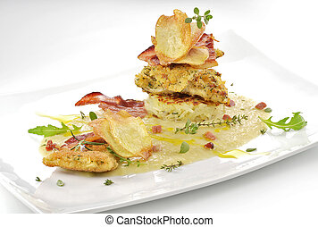 fish dish, turbot fillets flavored crust, cips, rosti, creamed potatoes, crispy bacon6