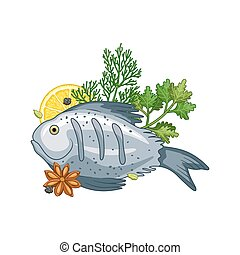 Fish dish vector illustration with spices