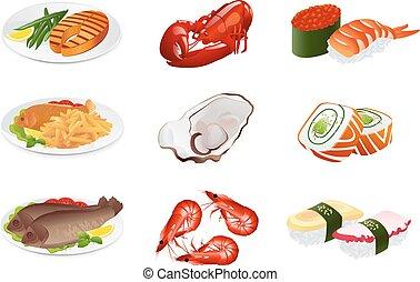 fish, dishes., 矢量, 圖象, 集合
