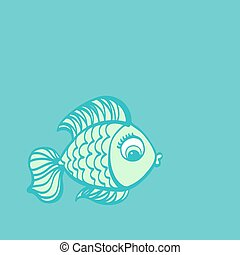 Fish drawing. Cute cartoon hand drawn illustration.