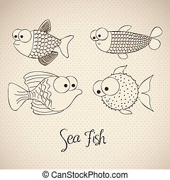 fish Drawings - illustration of fish and blowfish, fish...