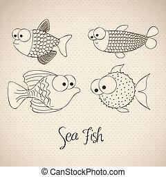 fish Drawings - illustration of fish and blowfish, fish...