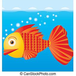 fish, eau, illustration, vecteur