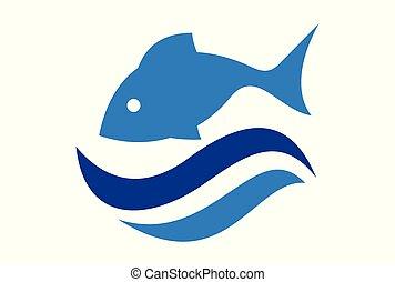 fish, eau, vecteur, mer, vagues, logo, icône