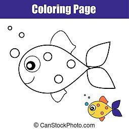 fish., educativo, coloritura, printable, gioco, pagina, bambini, attività, disegno