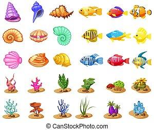 fish, elements., trzy, glony, seashell, ikony, gra, apps, odizolowany, tropikalny, tło., tło, perła, biały, mecz, barwny, gra, rafa, rysunek, koral, wektor, korale