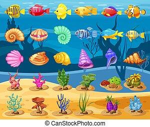 fish, elements., trzy, podwodny, glony, seashell, ikony, gra, apps, odizolowany, tropikalny, tło., tło, perła, biały, mecz, barwny, gra, rafa, rysunek, koral, wektor, korale