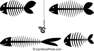 fish, ensemble, sceletons