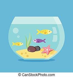 fish., estanque de pez, acuario, redondo