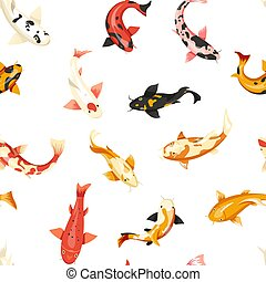 Fish exotic cold blooded animals seamless pattern vector....