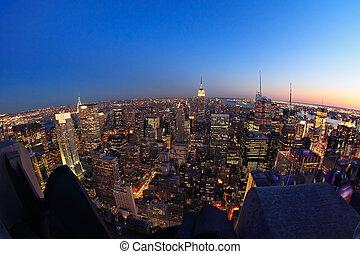 Lower Manhattan at dusk - Fish-eye view of Lower Manhattan ...