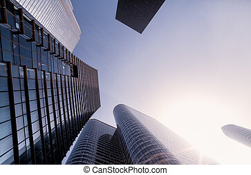 Fish-eye View of Modern Architecture in Paris. Business Concept