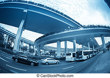 fish eye view of the city overpass, urban traffic background