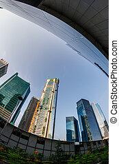 Fish-eye View of the Singapore Skyline