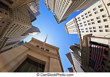 Fish-eye view of Wall Street buildings - New York City, USA