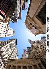 Wall Street - Fish-eye view of Wall Street buildings - New...
